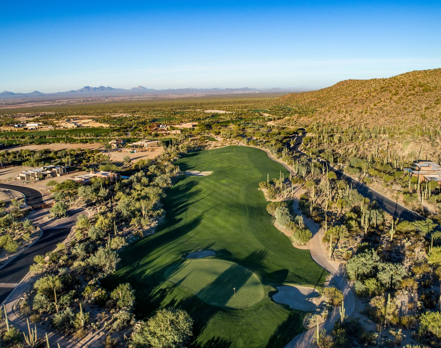 Aerial view of hole 1 on the Wild Burro course