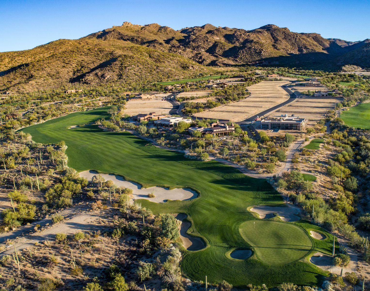 Aerial view of hole 2 on the Wild Burro course