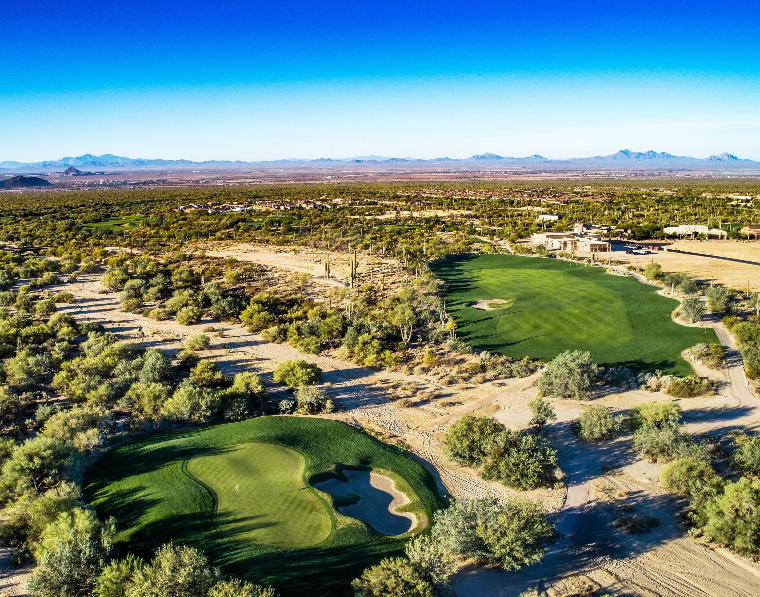 Aerial view of hole 3 on the Wild Burro course