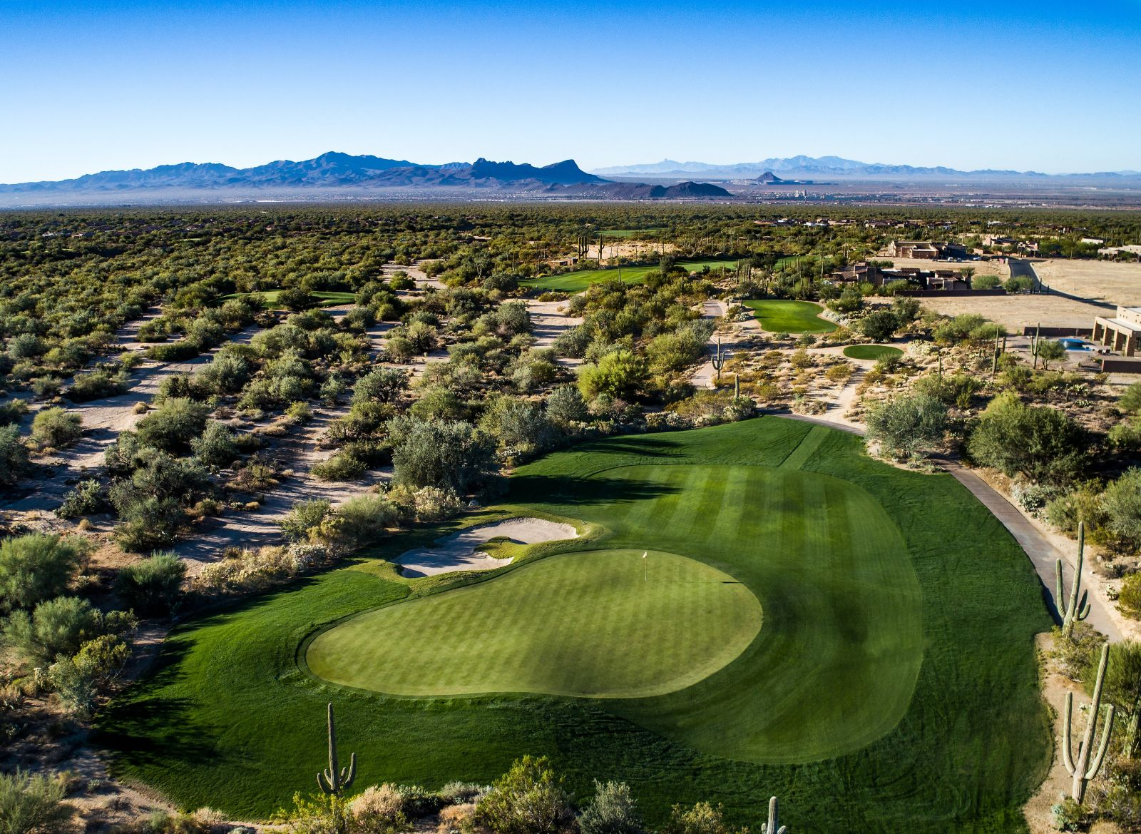Aerial view of hole 4 on the Wild Burro course