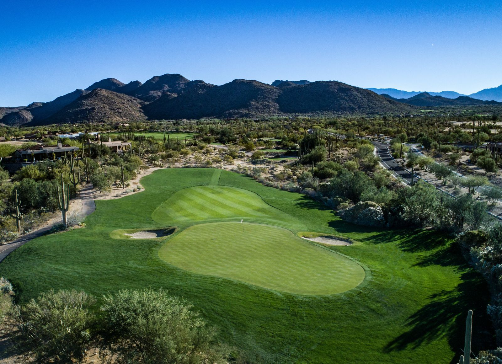 Aerial view of hole 8 on the Wild Burro course
