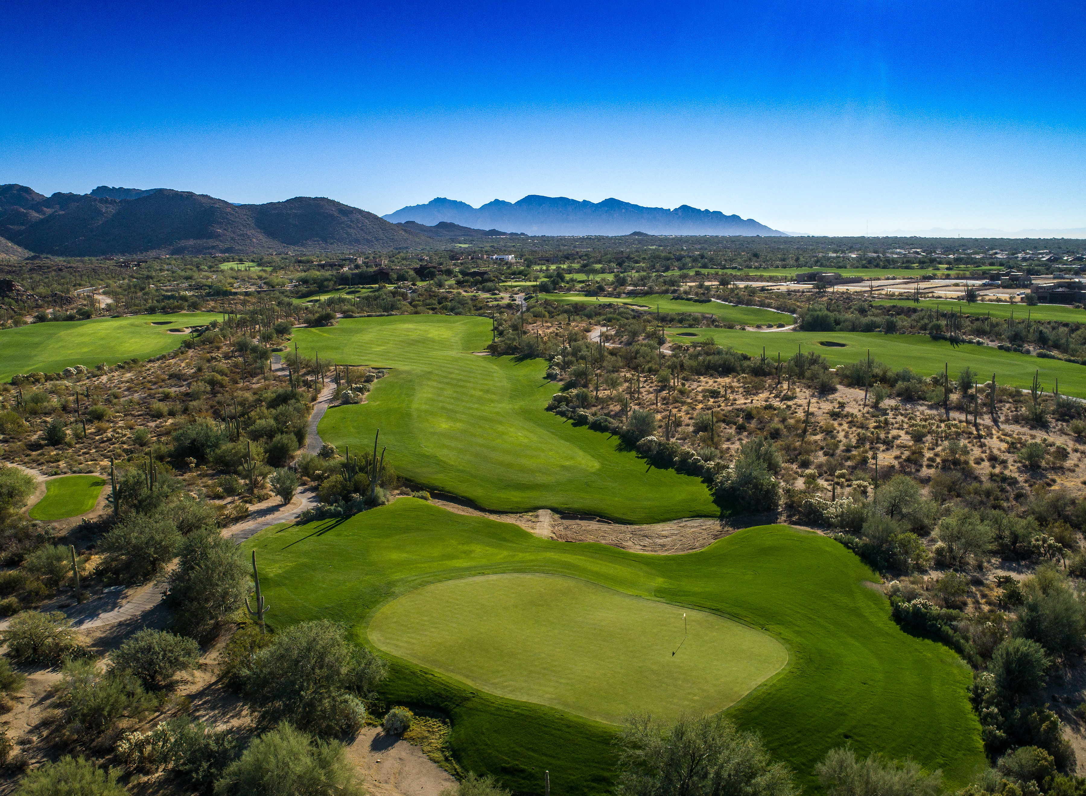 The Tortilia course features lush fairways with views of the mountains in Marana Arizona